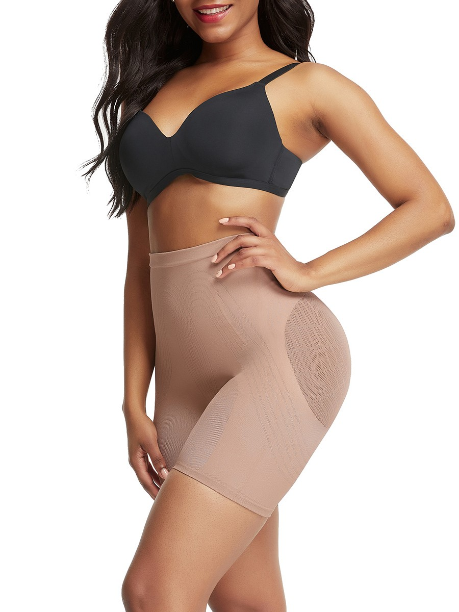 Skin Color Thigh Length High Rise Seamless Shapewear Shorts Stretchy
