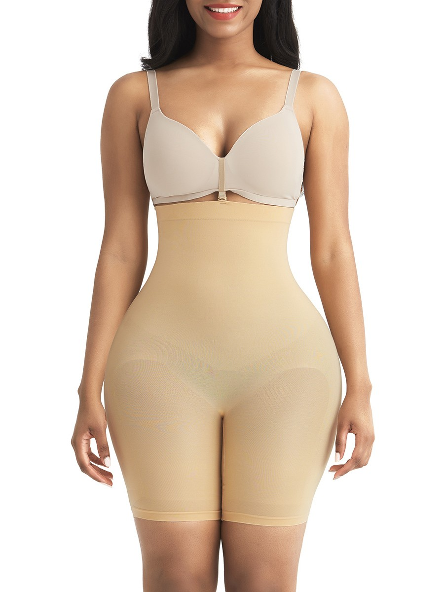 Apricot Seamless Shapewear Shorts With Buckle Tummy Control High Rise