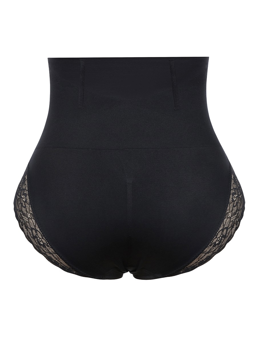 Black Seamless Plus Size Butt Lifter Lace Trim Body Trimmer