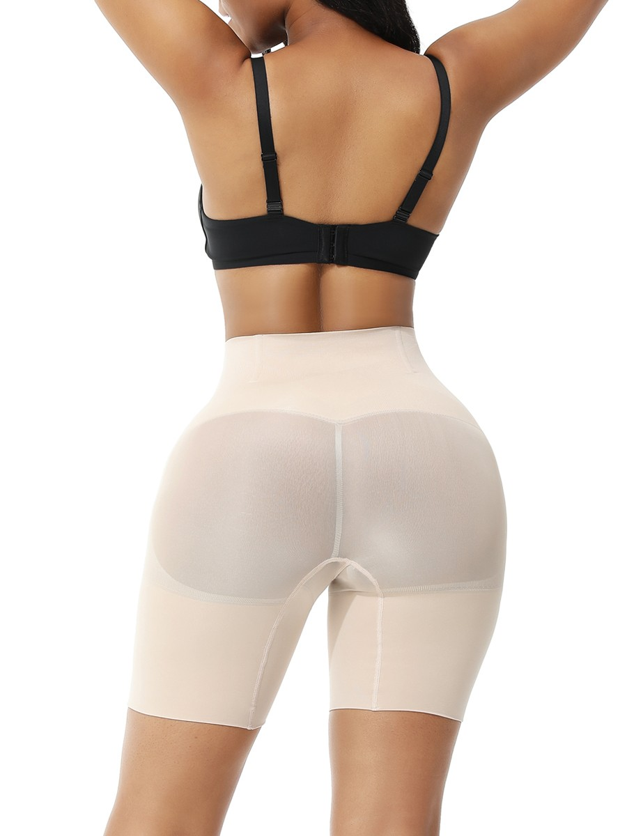 Nude Seamless Plus Size Tummy Control Shorts High-Compression