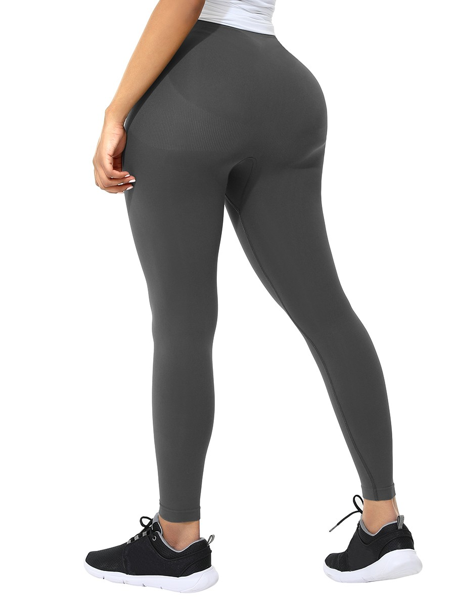 Plus Size Gray Ankle Length Leggings Shaper Ultimate Stretch