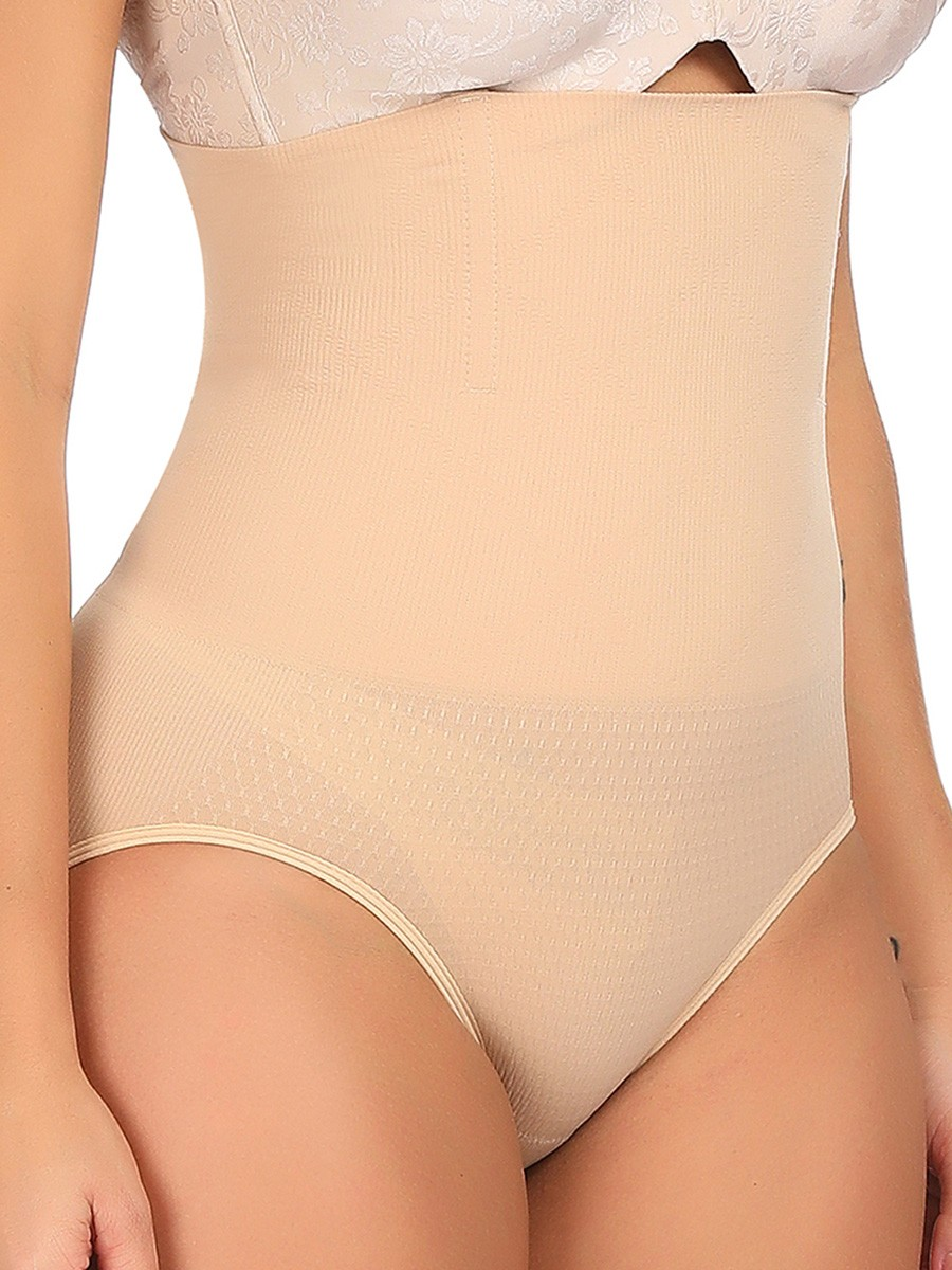 Nude High Cut Solid Color Plus Size Seamless Control Underwear