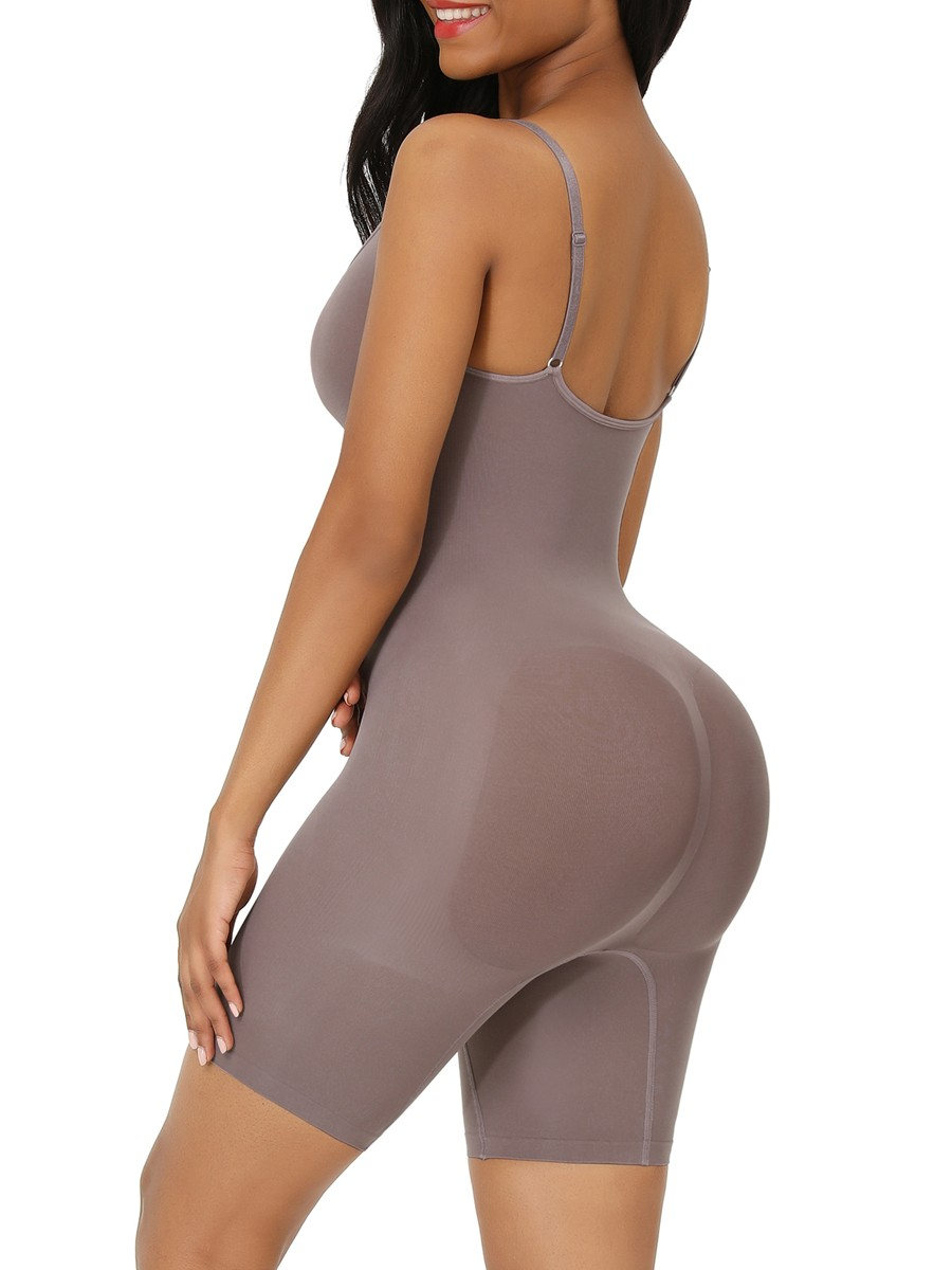Purple Seamless Full Body Shapewear Open Gusset Curve Smoothing