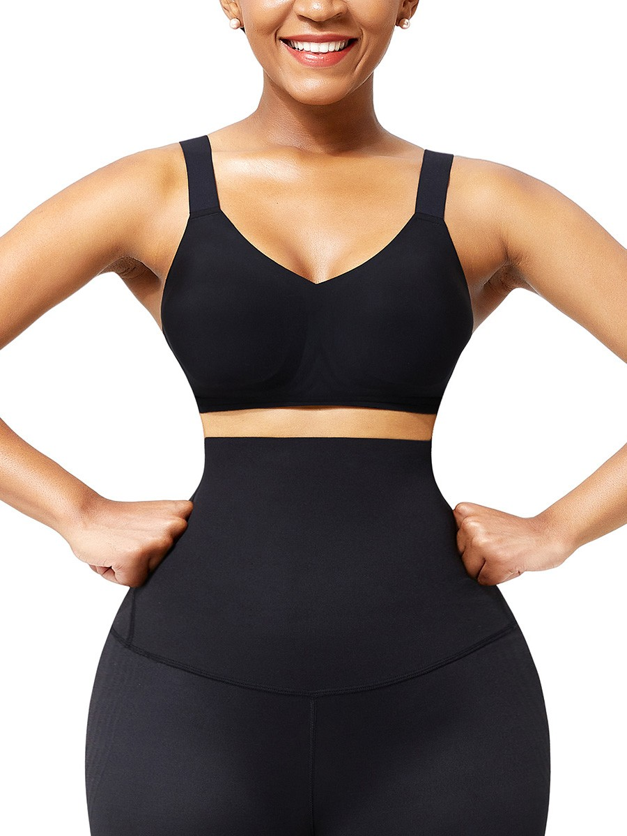 Black Seamless Shapewear Bra Removable Pads Intant Shaping