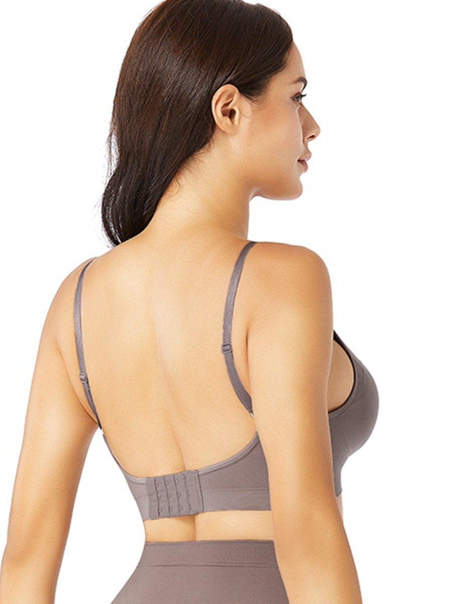 Purple Removable Pads Seamless Bra Push Up Tight Fitting