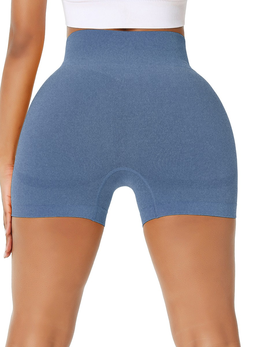 Sleek Blue Solid Color Sports Shorts Thigh Length Women Outfit