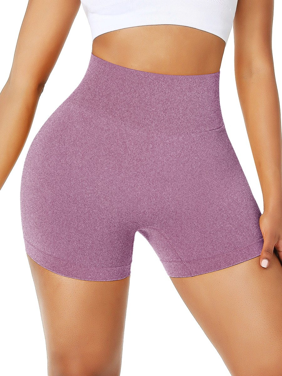 Elegance Light Purple Athletic Shorts Solid Color High Rise For Workout