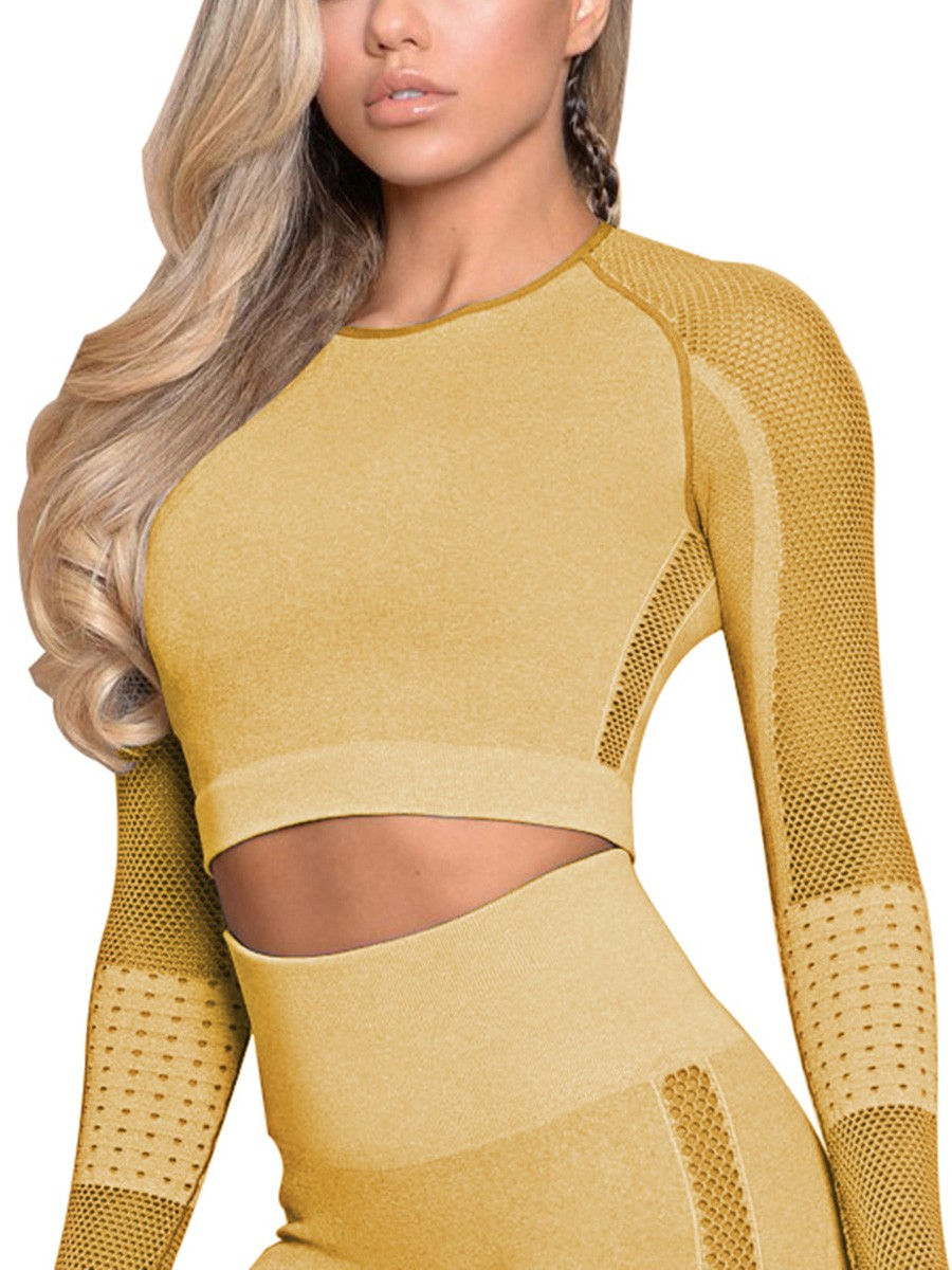 Workout Earthy Yellow Long Sleeve Sports Crop Top Round Neck Moving Online