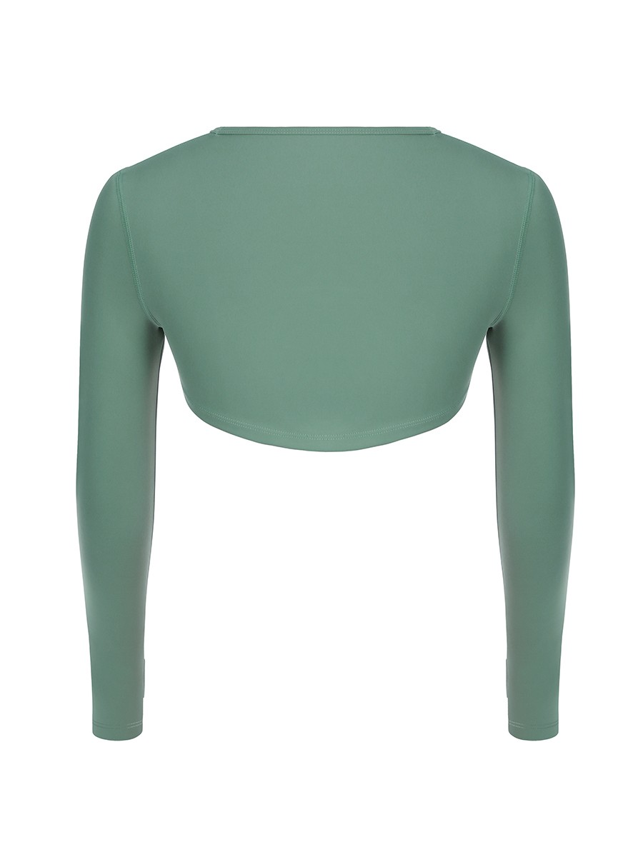 Green High-Low Hem Top Thumbhole Full Sleeve Soft-Touch