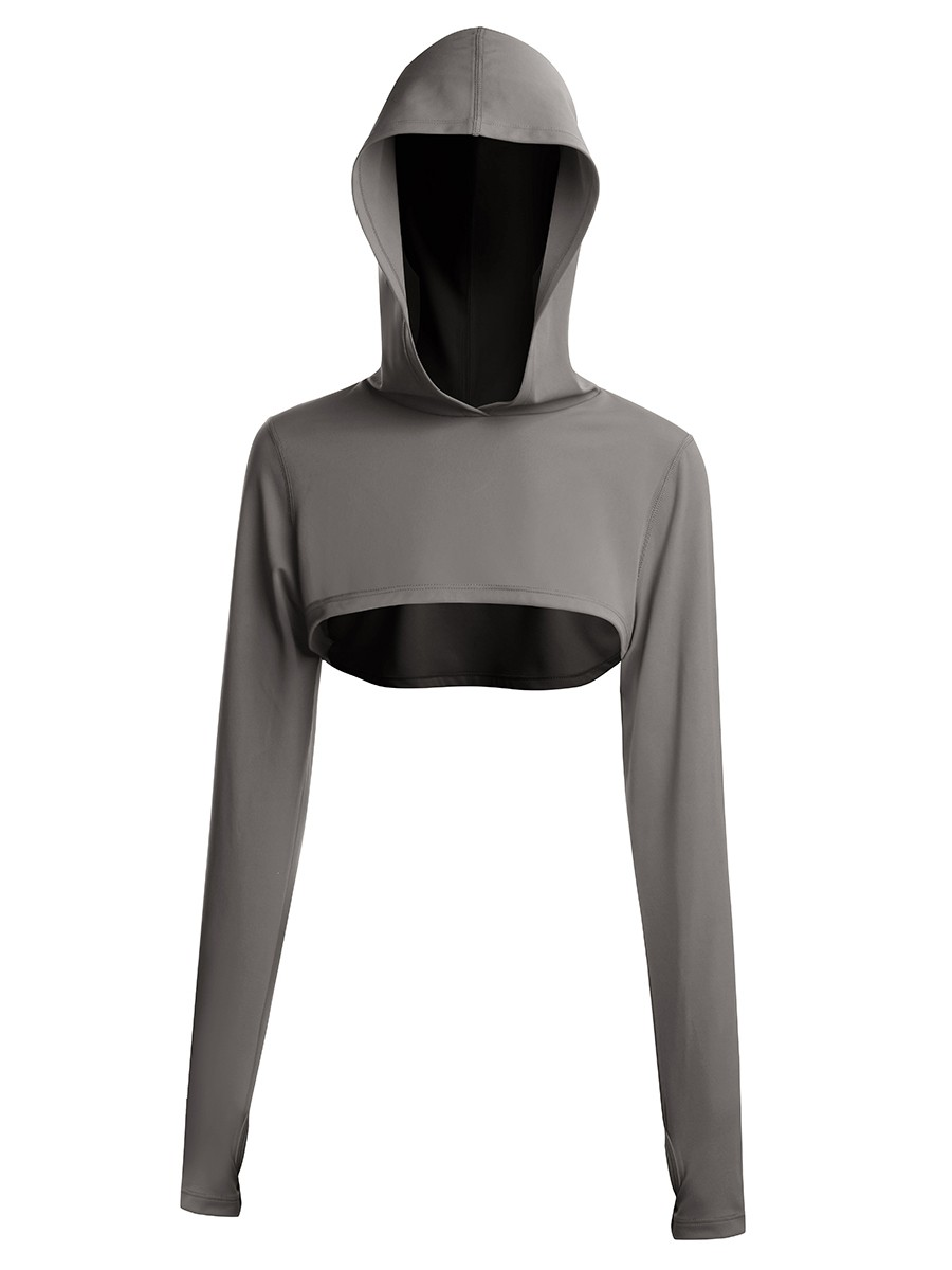 Gray Short Front Sports Top Long Sleeve All Over Smooth
