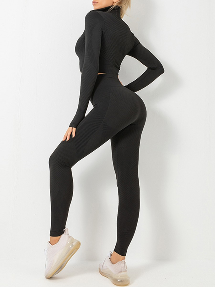 Black Long Sleeve Top Zip And Sports Pants Moisture Wicking