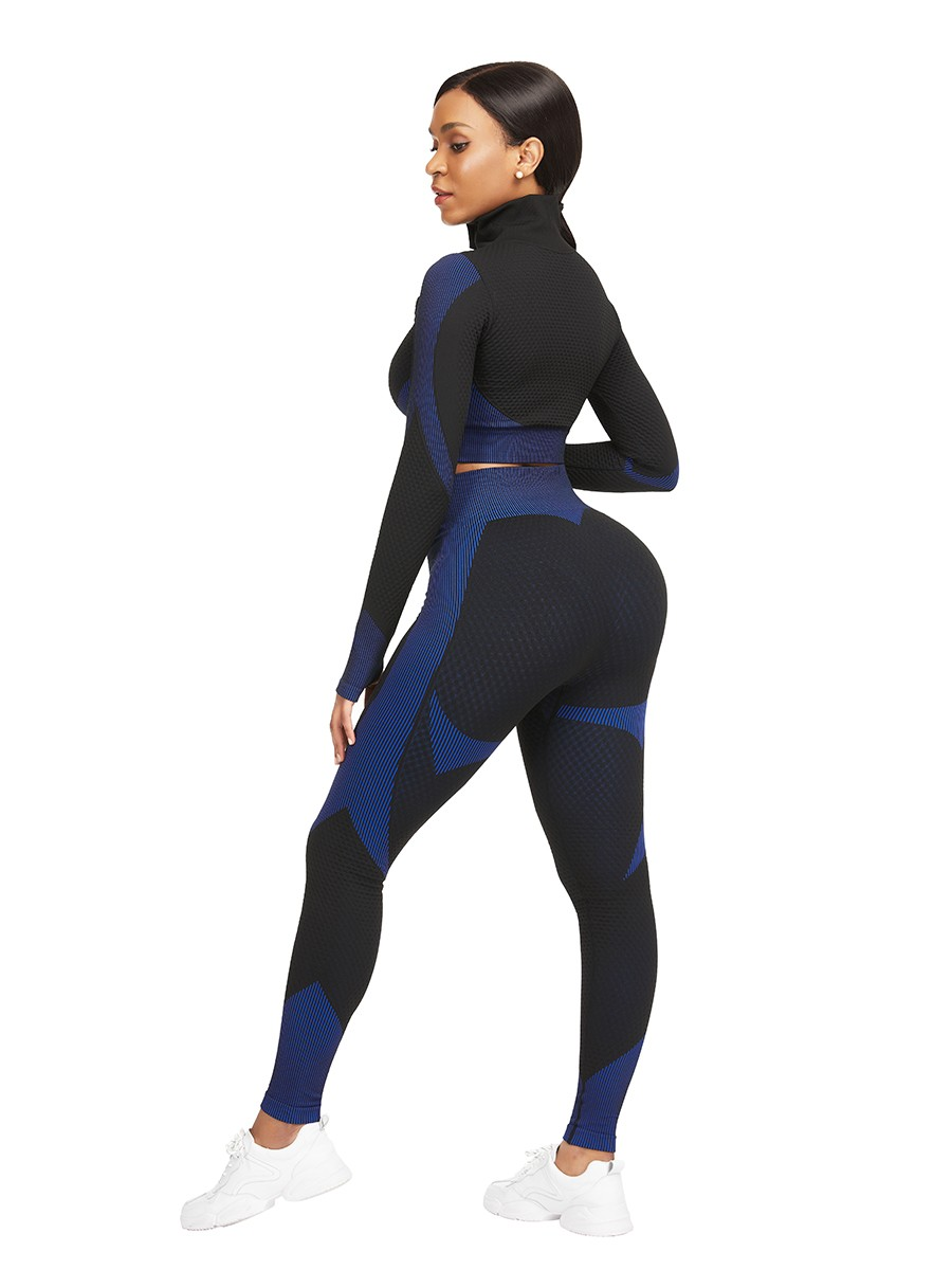 Athletic Dark Blue Stand-Up Collar Top High Rise Leggings Young Style