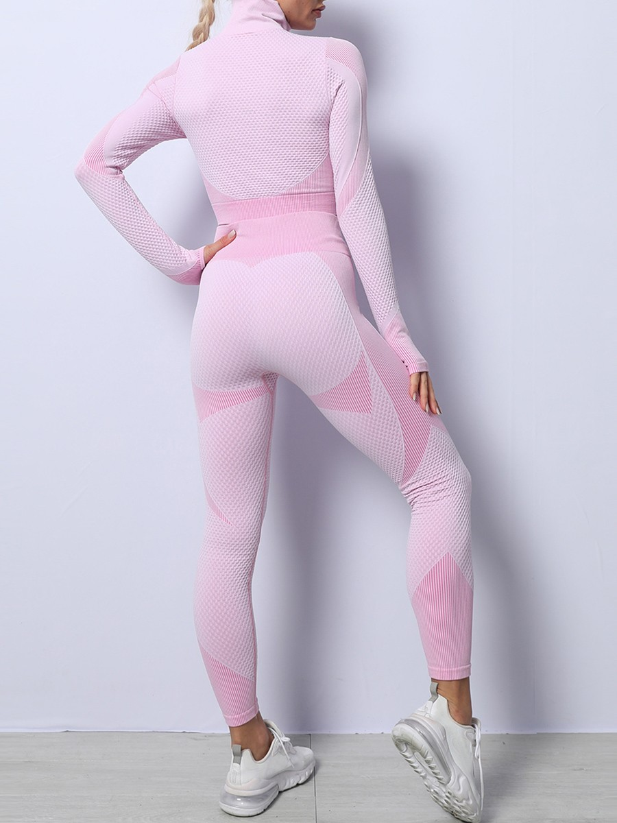 Light Pink High Waist Yoga Suit Colorblock With Thumbhole For Running Girl