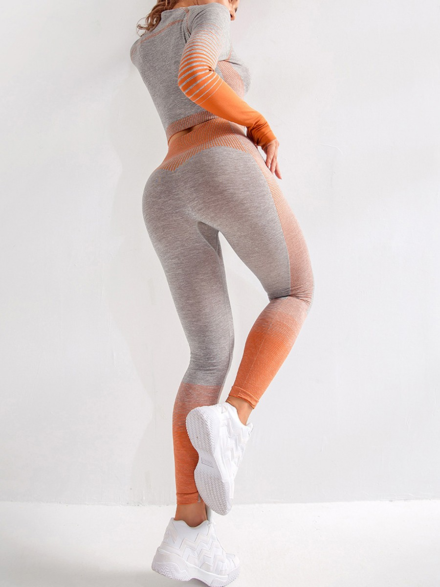 Orange Long Sleeves Crop Top And Sports Pants For Running Girl