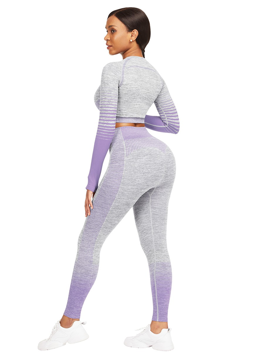 Purple Athletic Suit Long Sleeves Patchwork High Elasticity