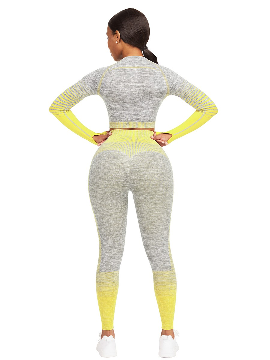 Yellow Tie-Dyed Cropped Top High Rise Leggings Sport Series