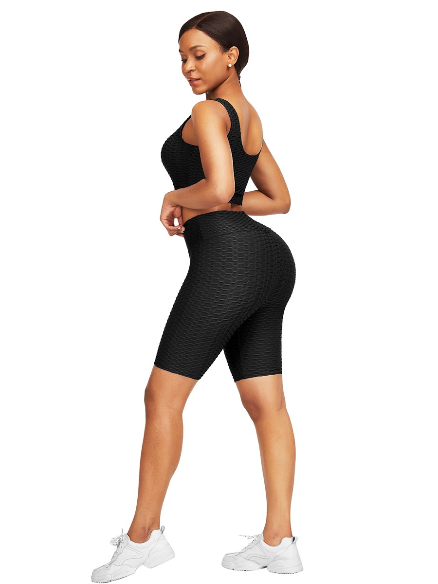 Body Hugging Black Jacquard High Waist Crop Sports Suit Stretched