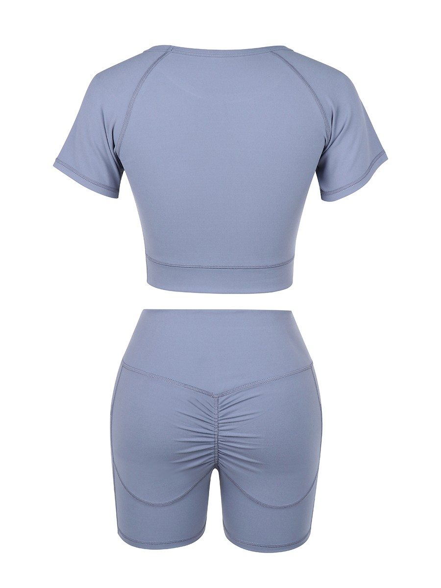Light Blue Crop Top High Rise Shorts Pleated For Aerobic Activities