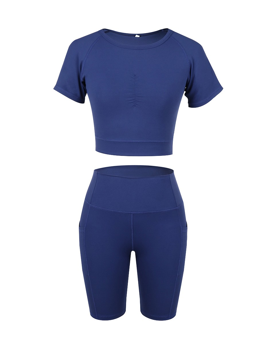 Ultra-Skinny Dark Blue Ruched Athletic Set Solid Color Natural Outfit