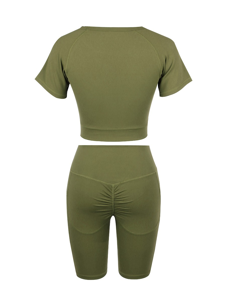 Fitted Army Green Crew Neck Top Wide Waistband Shorts Elastic Material