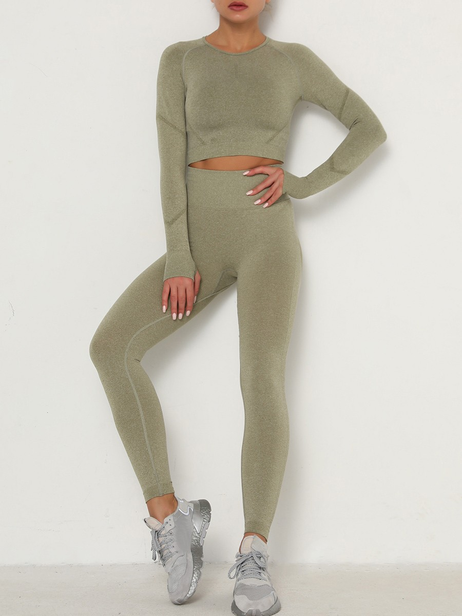 Heartthrob Army Green Knit Crop Top Wide Waistband Leggings For Fitness