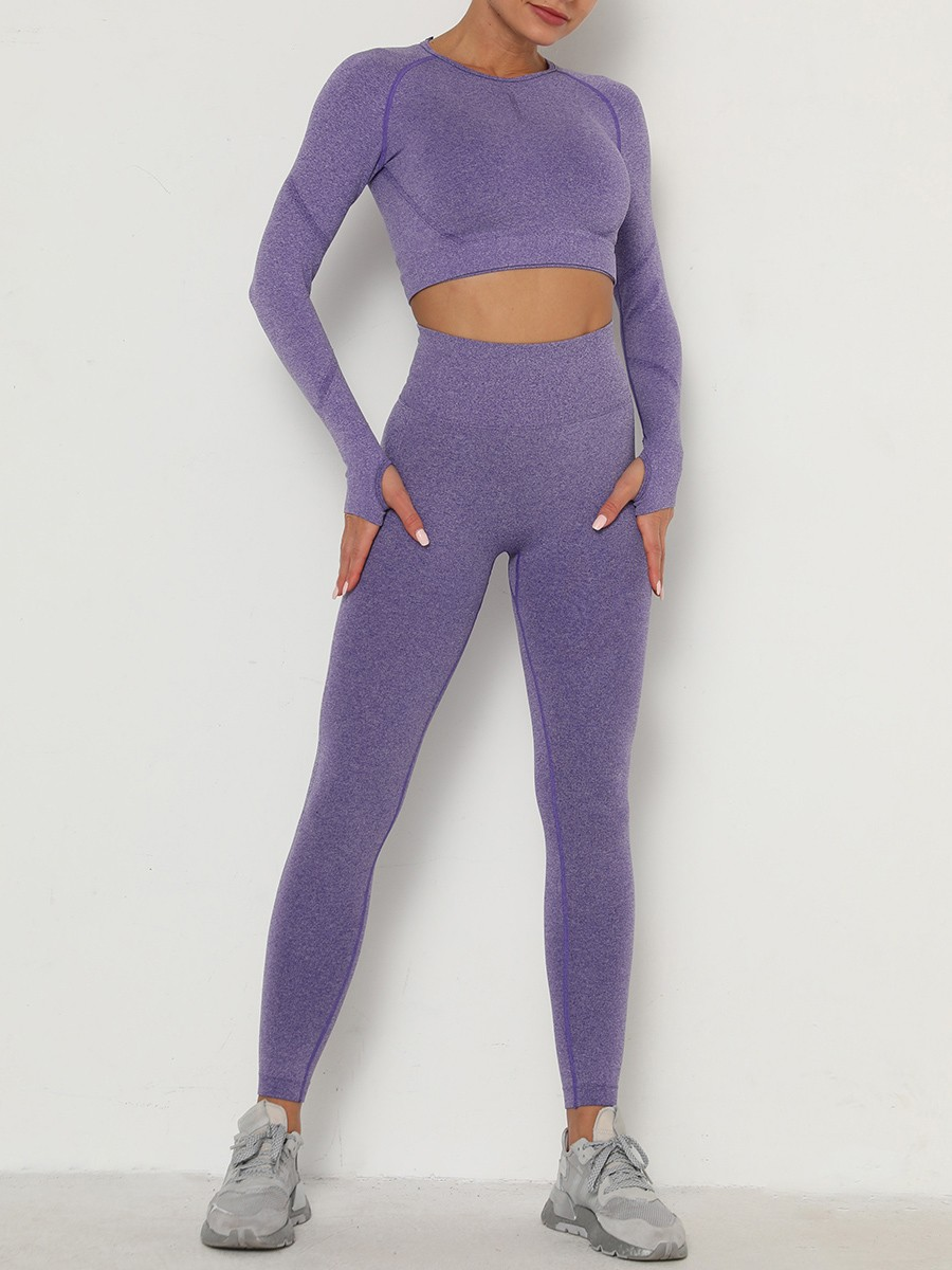 Comfy Purple Seamless Knit Wide Waistband Sports Suit Casual Clothing
