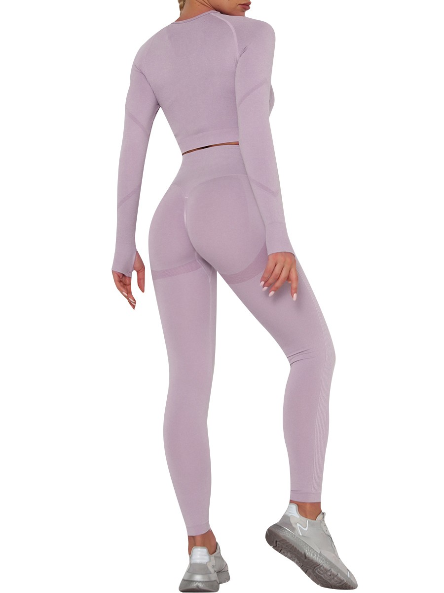 Slimming Light Purple Athletic Suit Crew Neck Ankle Length For Women