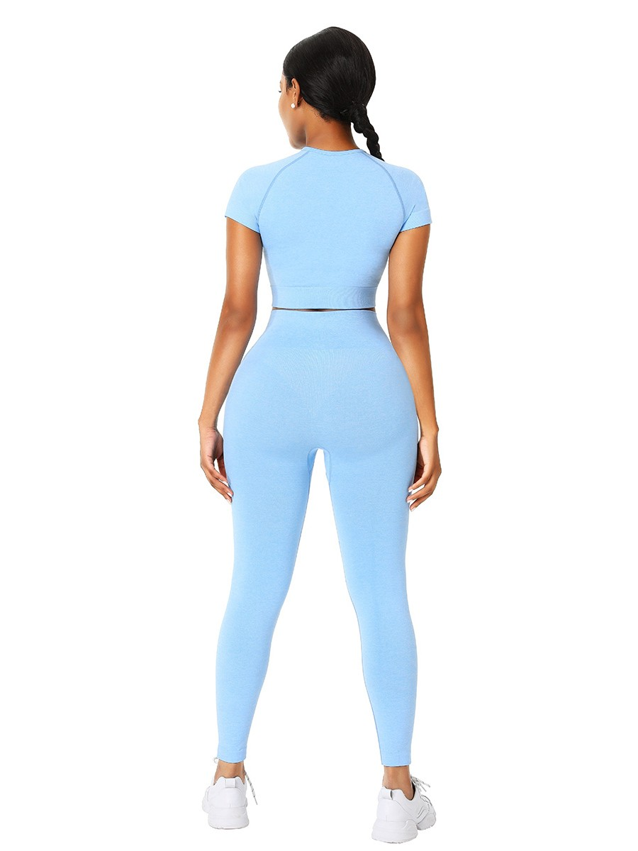 Slimming Fit Sky Blue Yoga Suit Crop Seamless Round Collar Leisure