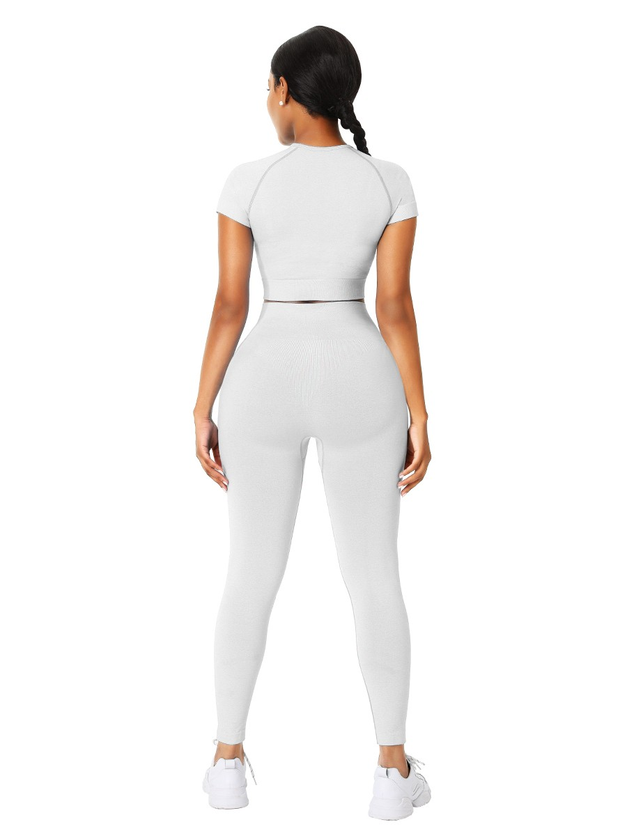 Sophiscated Creamy-White Ankle Length Yoga Legging Seamless Top