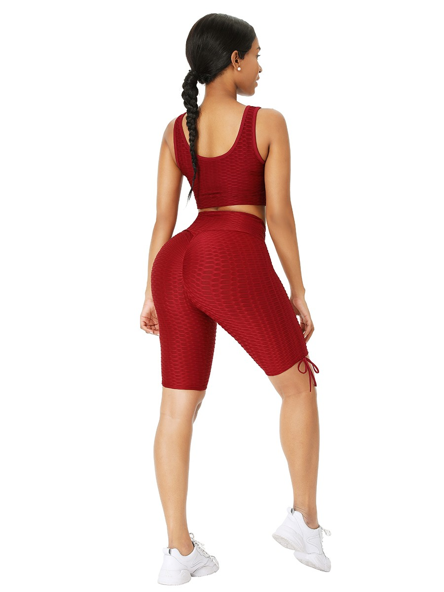 Wine Red Wide Strap Thigh Length Sweat Suit Running Outfits
