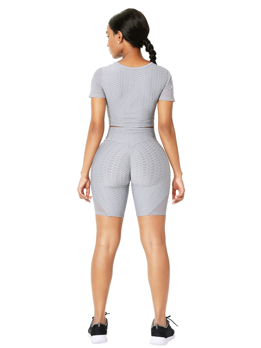 Gray Sports Suit Short Sleeve High Rise All Over Smooth