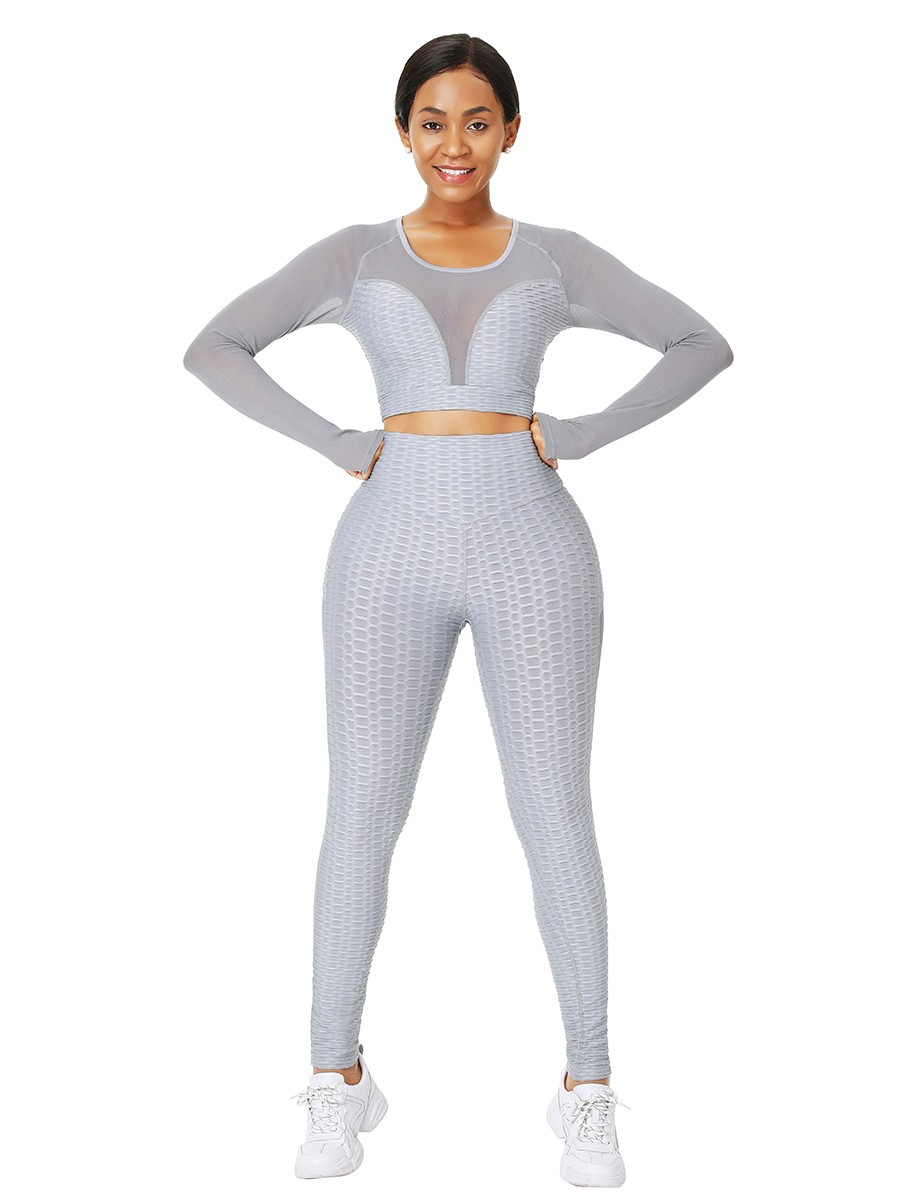Gray Full-Length Jacquard Mesh Yoga Suit Exercise Outfit