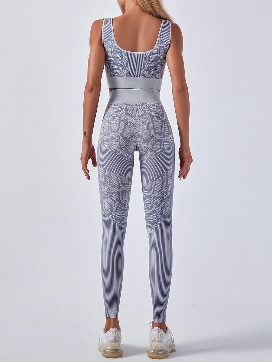 Gray Ankle Length Yoga Two-Piece High Waist Slimming Fit