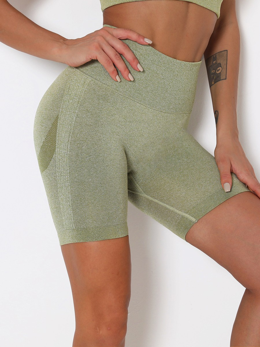 Army Green Seamless High Rise Running Shorts For Warmup