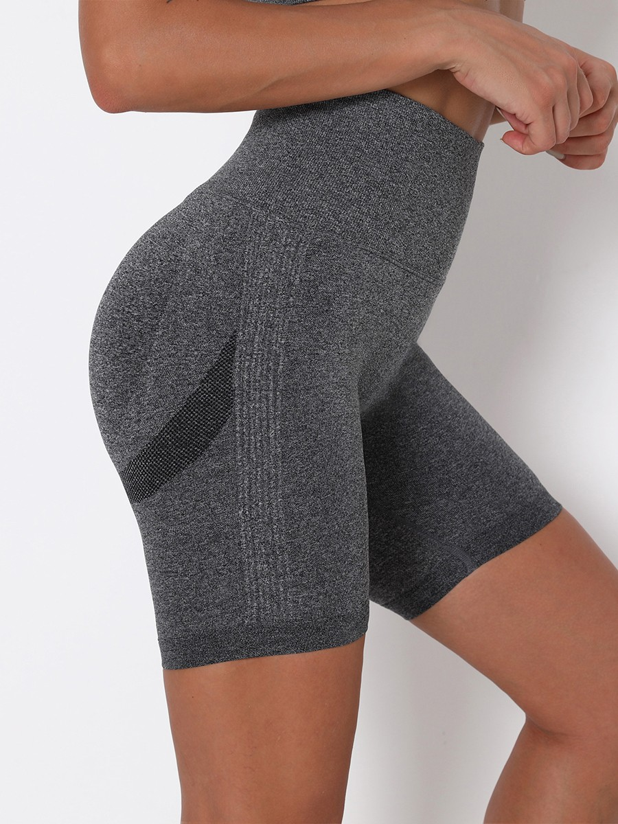 Dark Gray High Waist Solid Color Yoga Shorts Refined Outfit