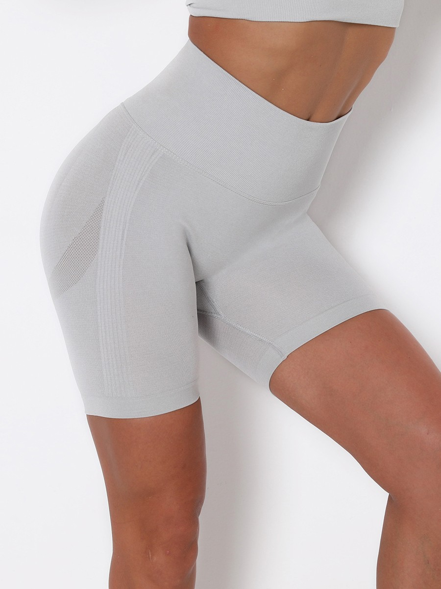 Light Gray Thigh Length Solid Color Running Shorts Women's Clothes