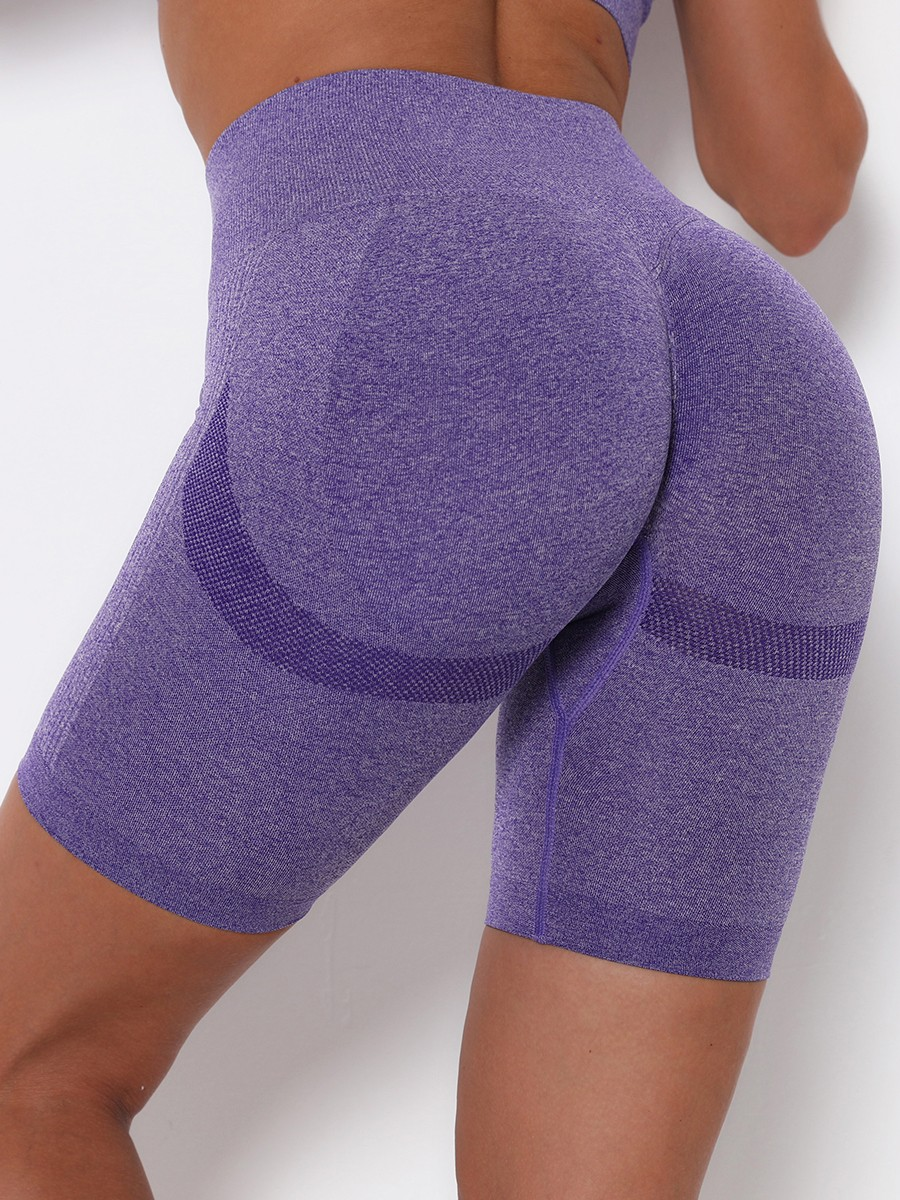 Purple Thigh Length Sports Shorts Solid Color Women Outfit