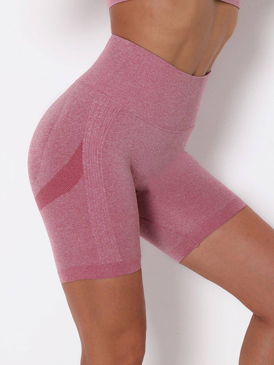 Wine Red Seamless Solid Color Sports Shorts All Over Smooth