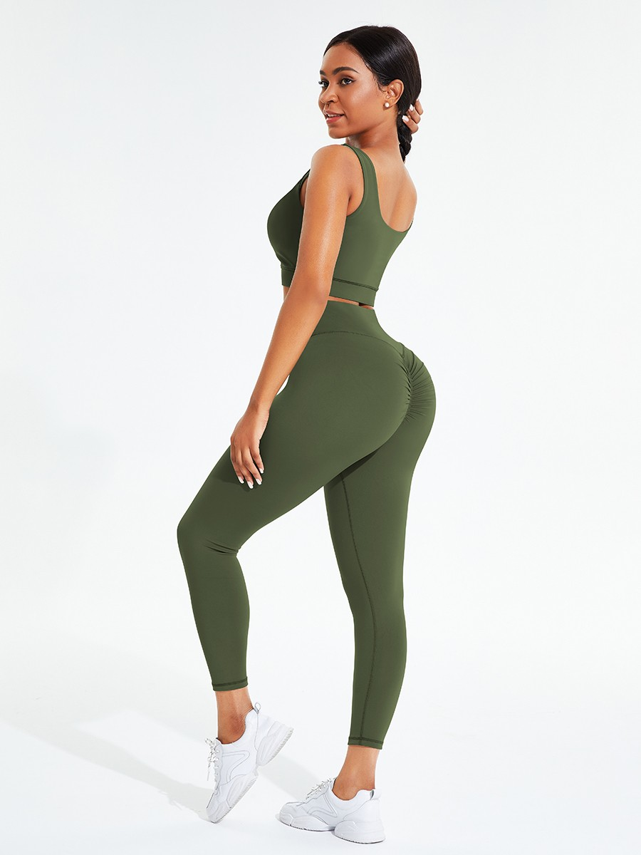 Army Green Hollow Out Full Length Pocket Athletic Suit For Exercising