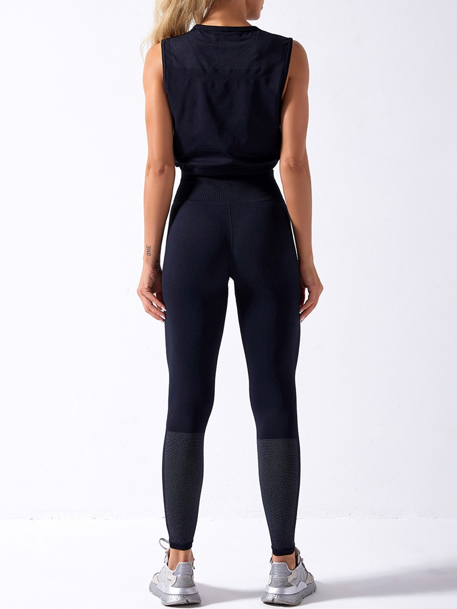 Sweat Suit Black Seamless Drawstring High Rise Breathable