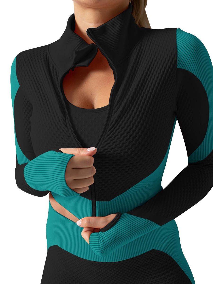 Dark Green Thumbhole Colorblock Full Length Yoga Suit All Over Smooth
