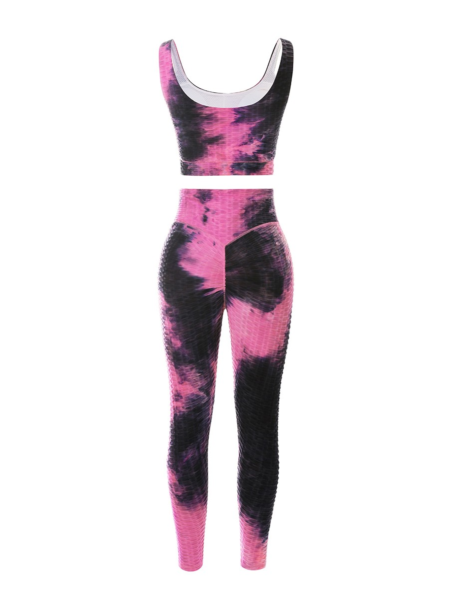 Rose Red Tie-Dyed Sports Bra High Waist Leggings For Training