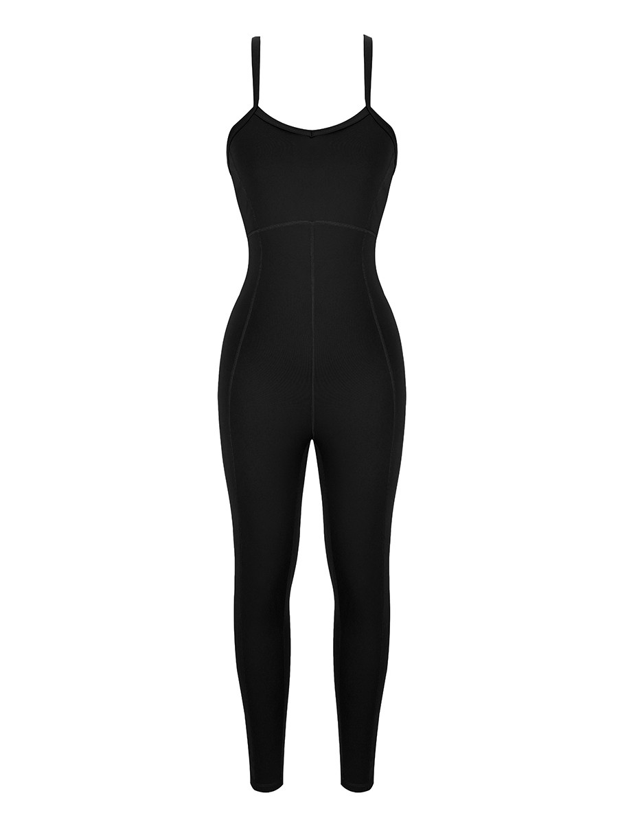 Black Strappy Back Removable Pads Yoga Bodysuit Casual Clothing