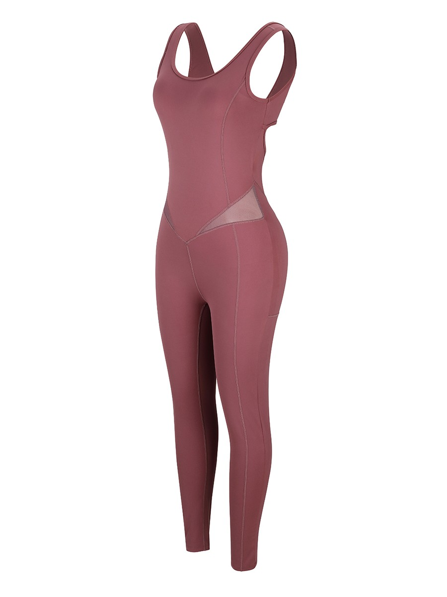 Purplish Red Hollow Out Hip Wrinkle Yoga Jumpsuit High Quality