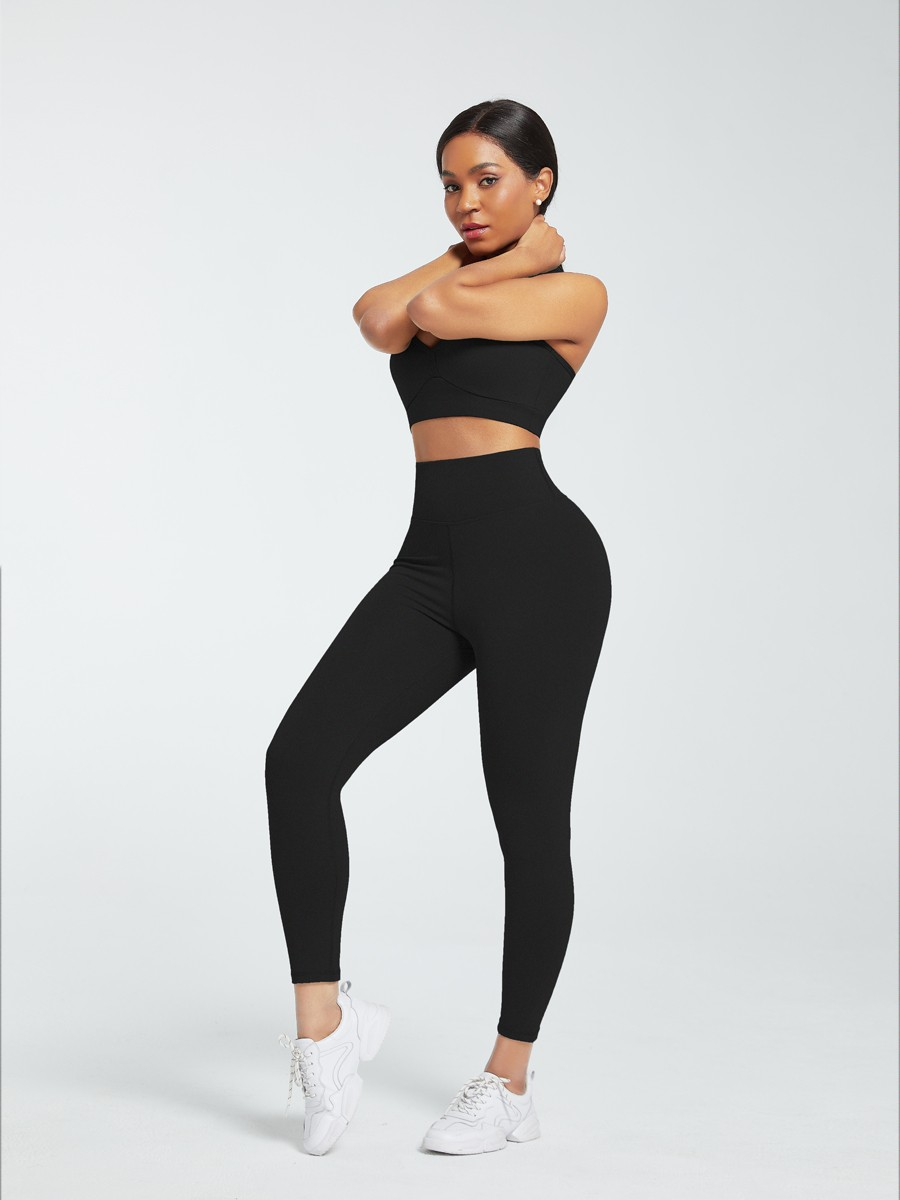 Black Racerback High Waist Pockets Sports Suit Athletic Outfit