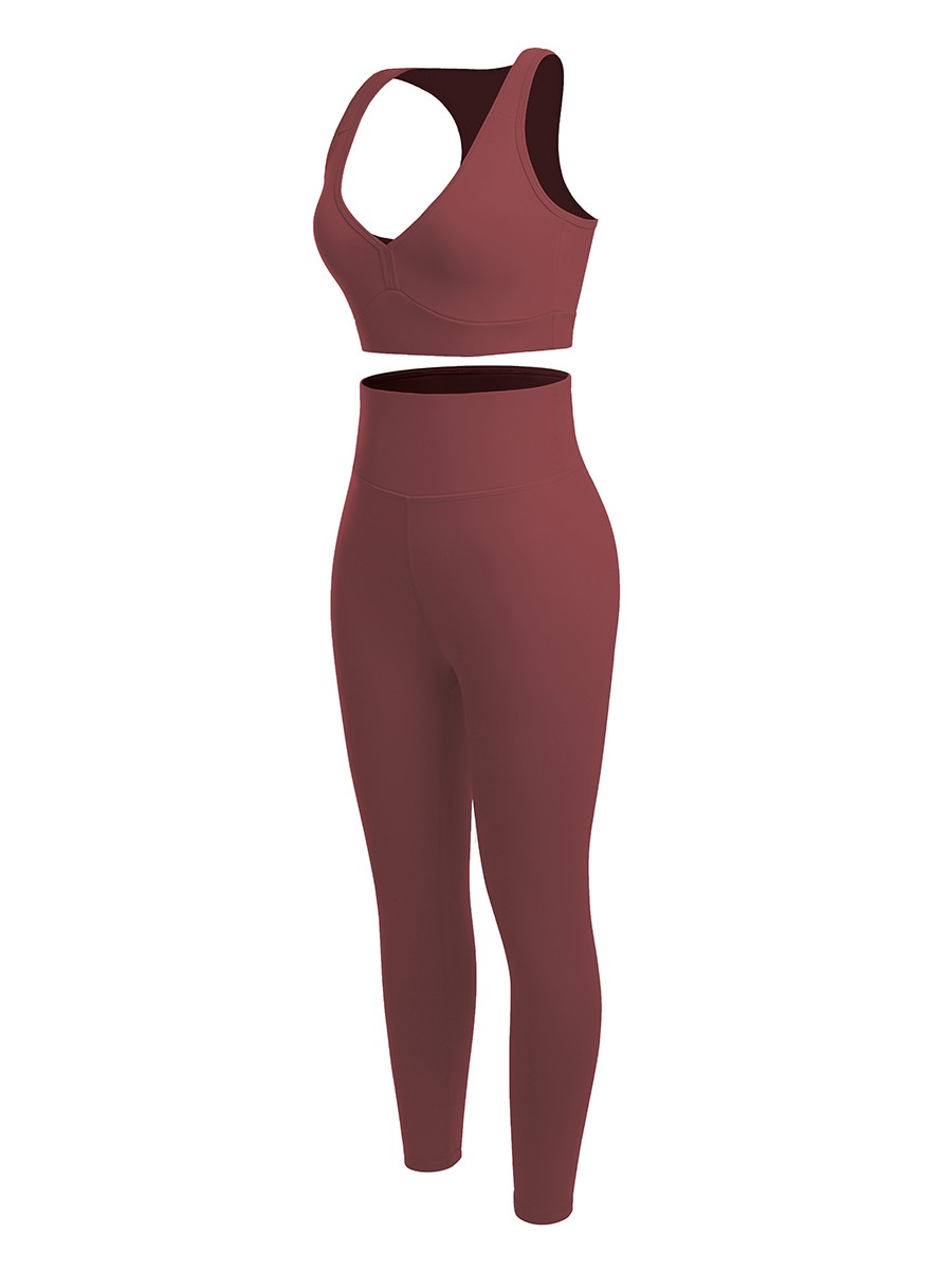 Jujube Red Running Suit Solid Color High Rise Kinetic Fashion