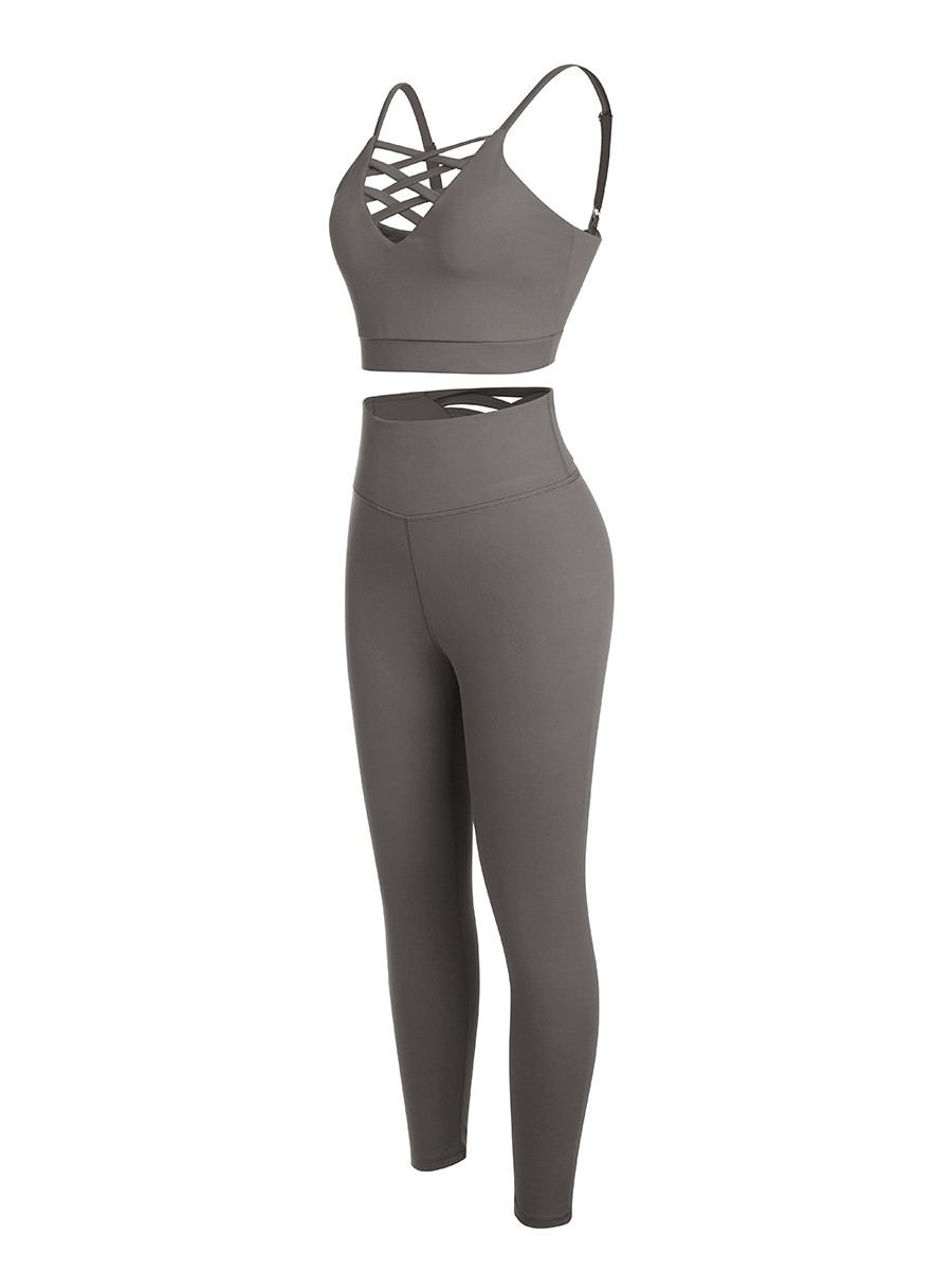 Gray Sports Sets Wide Waistband Low Back Pockets For Running