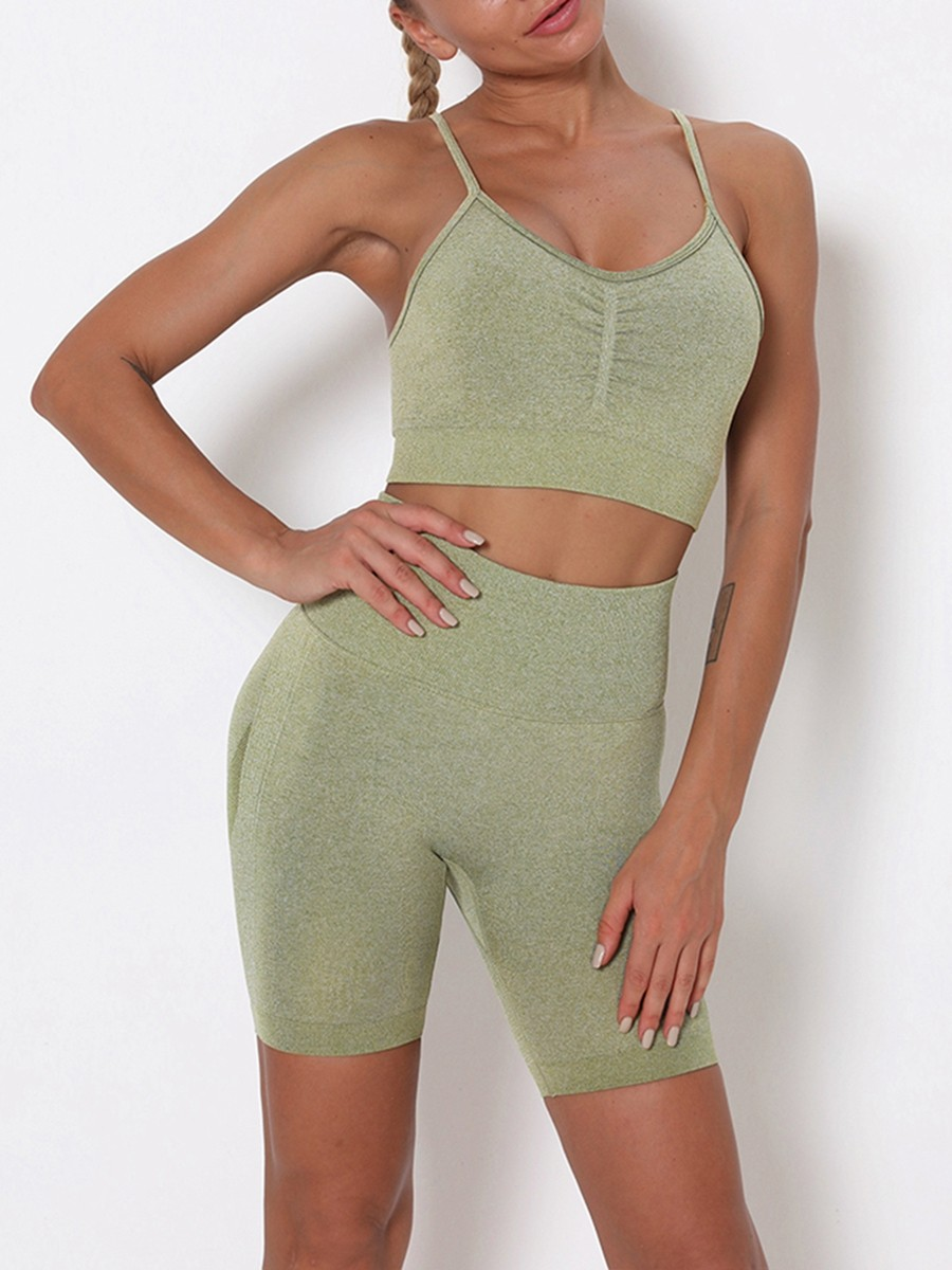 Army Green Thigh Length Seamless Ruched Yoga Suit For Sauntering
