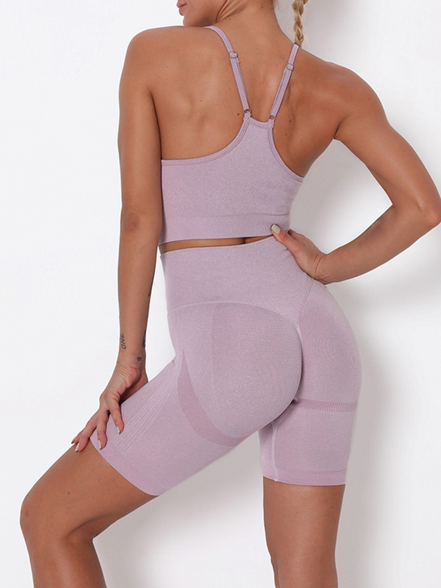 Light Purple Wide Waistband Adjustable Strap Sports Suit All Over Smooth
