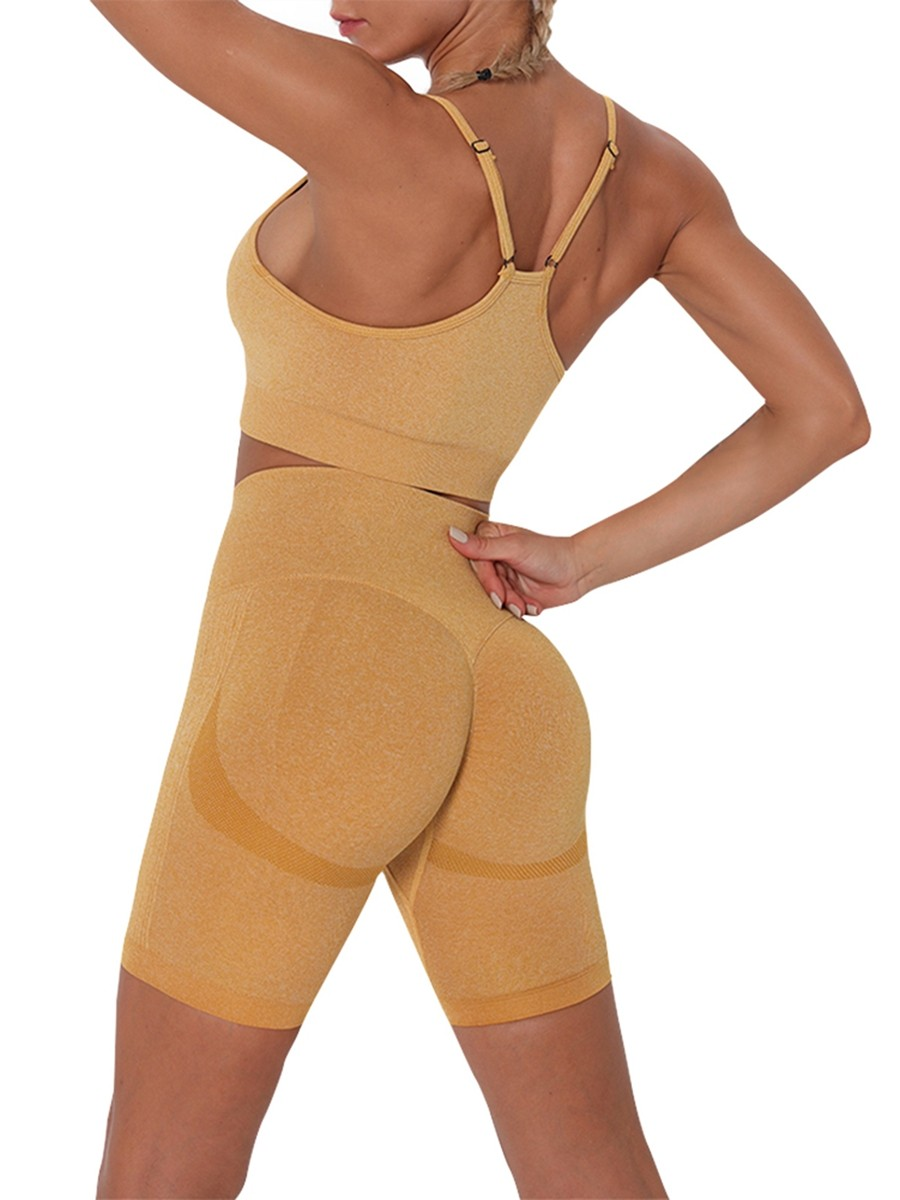 Yellow Thigh Length Seamless Athletic Suit For Female